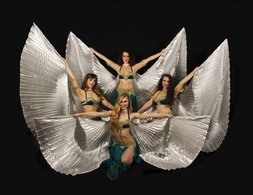 belly dancers with silver wings