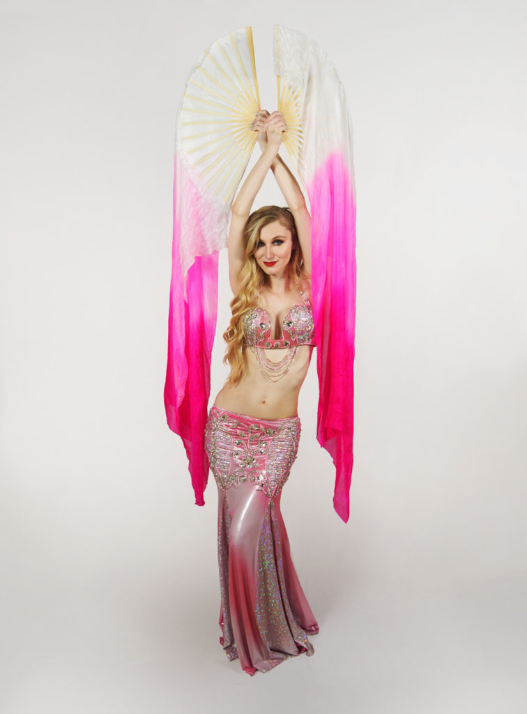 belly dancer with fan veil